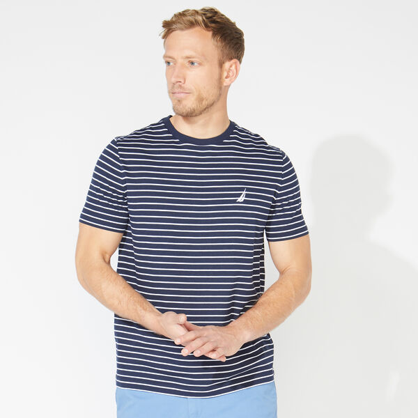 STRIPED COTTON TEE - Navy