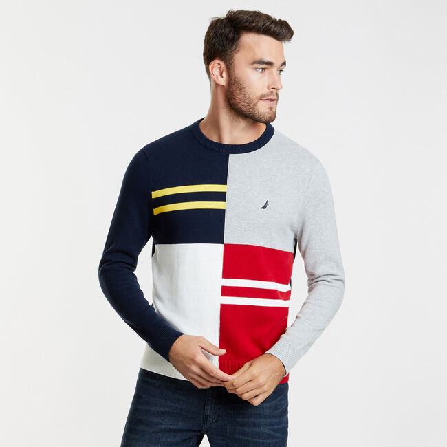 Colorblock Crewneck Pullover Sweater,Navy,large