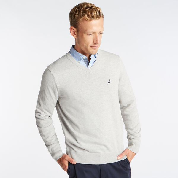 V-NECK NAVTECH SWEATER - Grey Heather