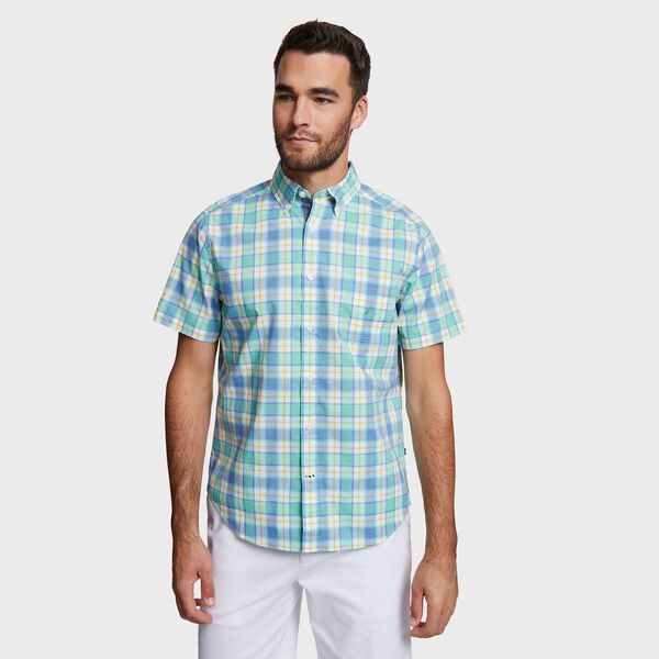 Big & Tall Short Sleeve Shirt in Plaid - Pool Side Aqua