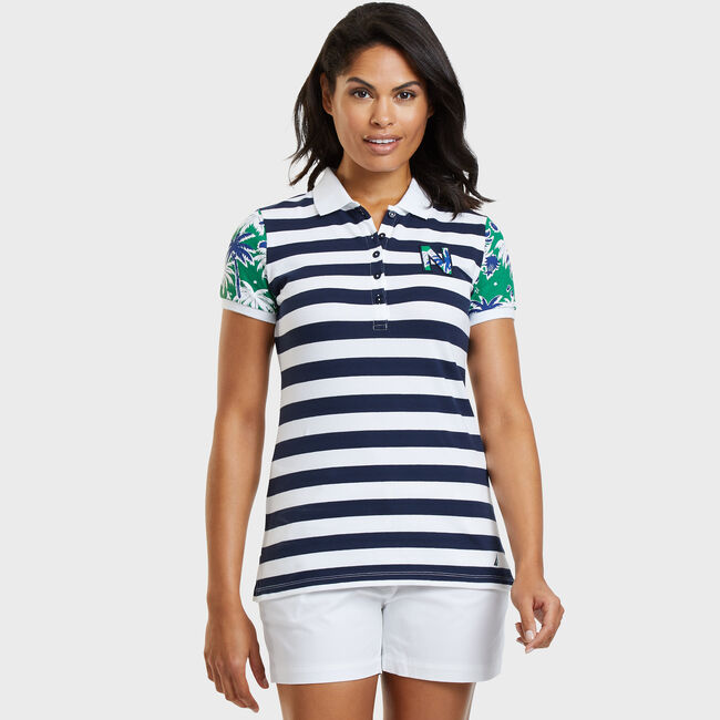 FLORAL SLEEVE PIQUE POLO,Bright White,large