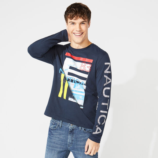 LONG SLEEVE STRIPE COLLAGE T-SHIRT,Navy,large