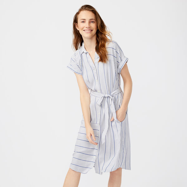 STRIPE DOLMAN SLEEVE SHIRT DRESS - Bright White