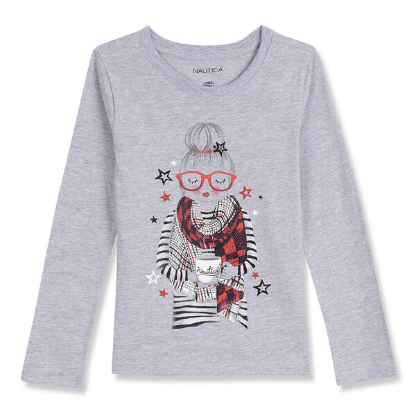 Little Girls' Cozy Winter Girl Long Sleeve Tee (4-6X) - Grey Heather