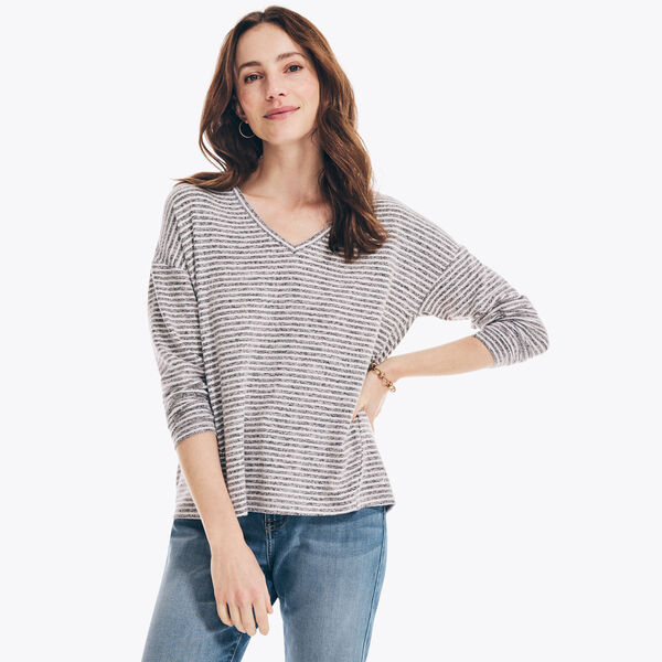 TEXTURED STRIPED V-NECK TOP - Charcoal Heather
