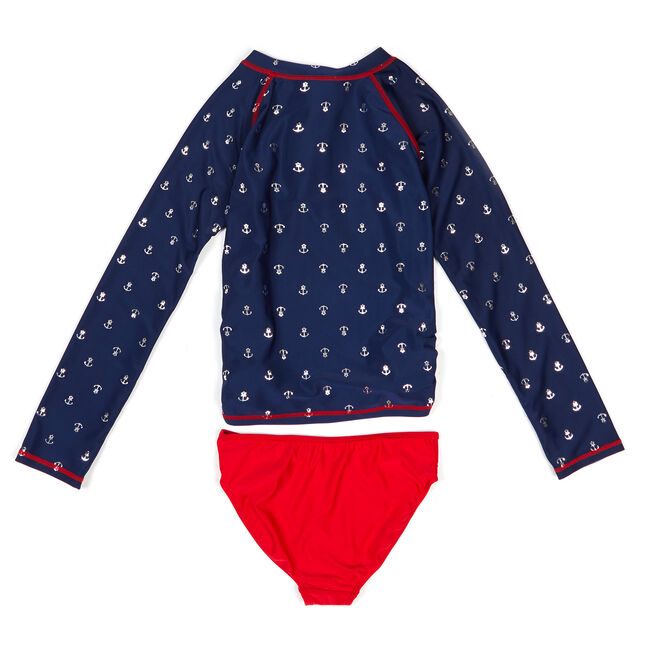Little Girls' Anchor Motif Two-Piece Swimsuit (4-6X),Navy,large