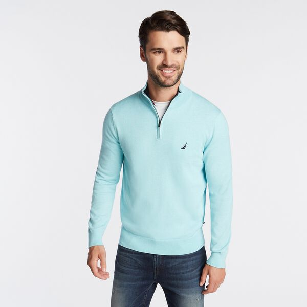 QUARTER ZIP NAVTECH SWEATER - Distressed Blue Wash