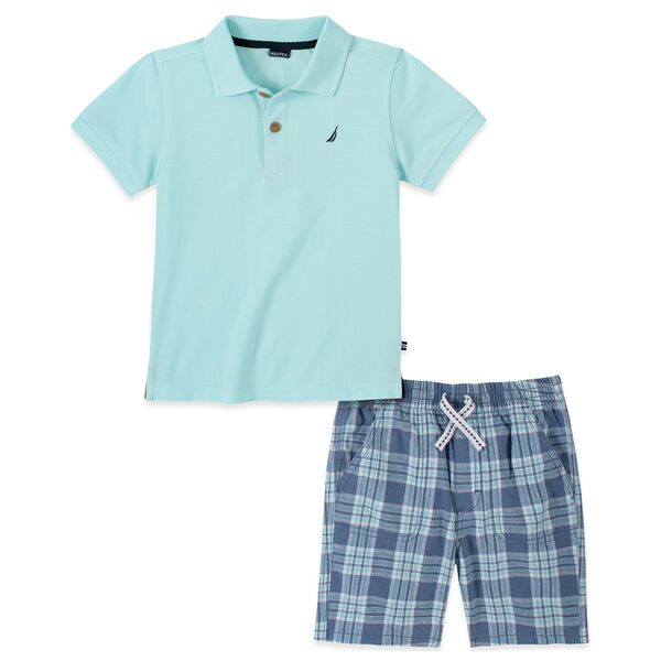 TODDLER BOYS' POLO PLAID SHORT 2PC SET (2T-4T) - Teal Wave