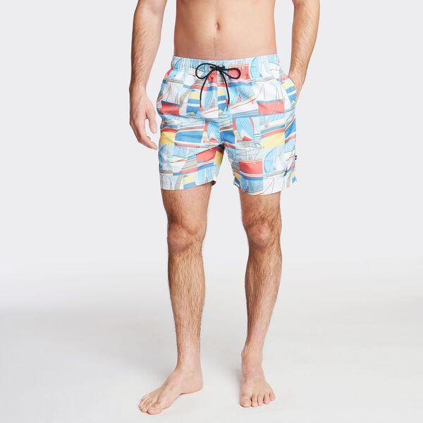 "6"" SWIM TRUNK IN POSTCARD PRINT - Marshmallow"