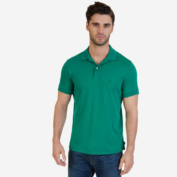 Slim Fit Solid Interlock Cotton Polo - Verdant Green