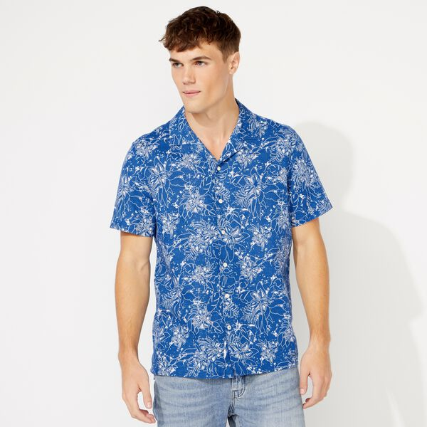 FLORAL BLUEPRINT SHORT SLEEVE LINEN SHIRT - Clear Sky Blue