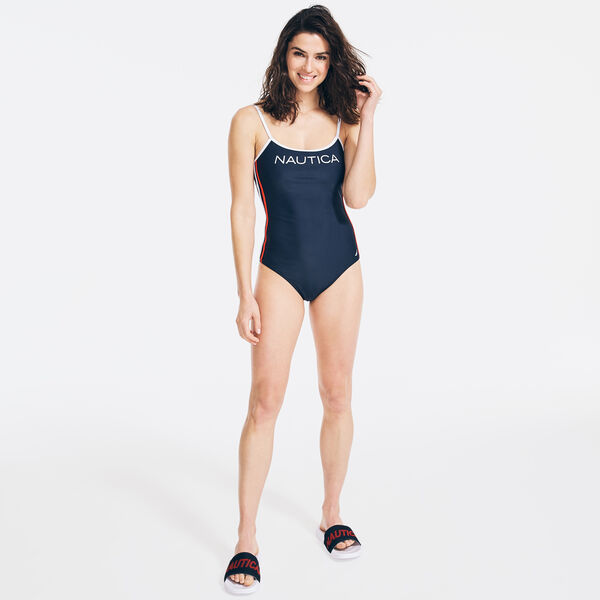 HERITAGE LOGO ONE-PIECE SWIM - Stellar Blue Heather