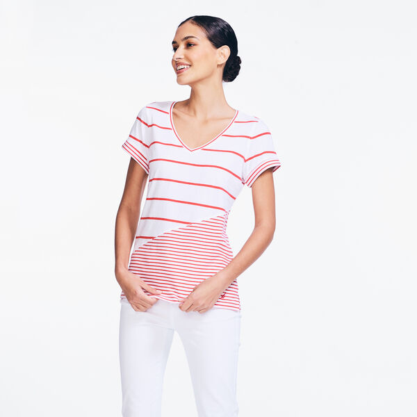 STRIPED V-NECK TOP - Buoy Red