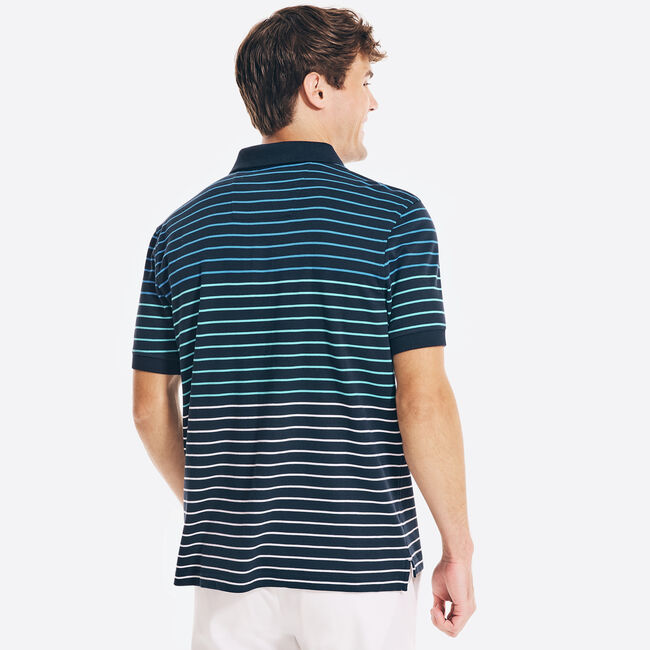 CLASSIC FIT STRIPED PREMIUM COTTON POLO,Navy,large