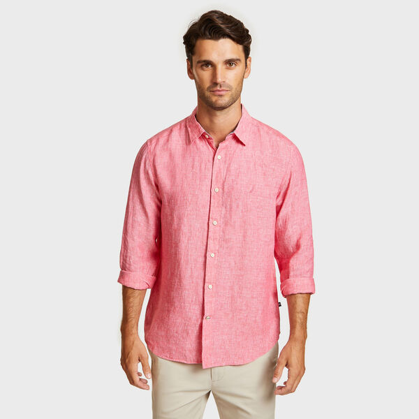 Classic Fit Solid Faded Linen Shirt - Island Pink