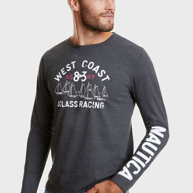 West Coast J-Class Racing Long Sleeve T-Shirt,Charcoal Hthr,large