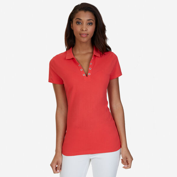 Short Sleeve Classic Fit Polo with Grommet Detail - Tomales Red
