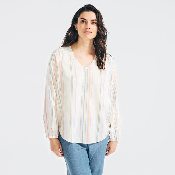 METALLIC STRIPE HENLEY - Marshmallow