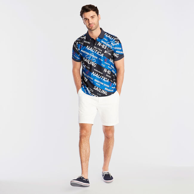 Classic Fit Polo in Graphic Stripe,Navy,large