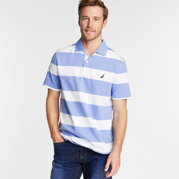 Stripe Classic Fit Polo - Cornflower Blue