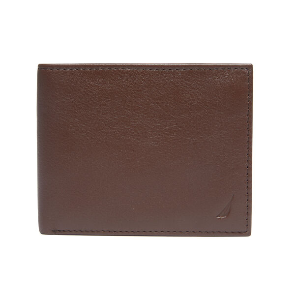 Pebbled Leather Embroidered J-Class Passcase - Brown Stone