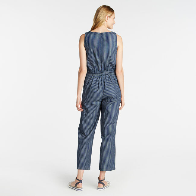 TWILL STRIPE CROPPED WIDE LEG BELTED JUMPSUIT,Admiral Blue,large