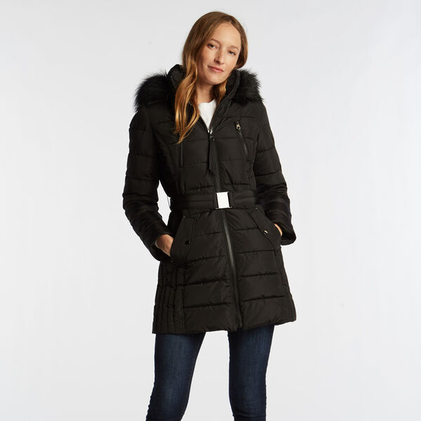 WOMEN'S QUILTED BELTED COAT - True Black