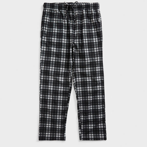 PLAID FLEECE SLEEP PANT - True Black
