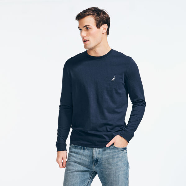 CREWNECK LONG SLEEVE T-SHIRT - Navy