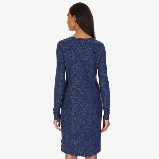 Lace-Up Sweater Dress,Admiral Blue,large