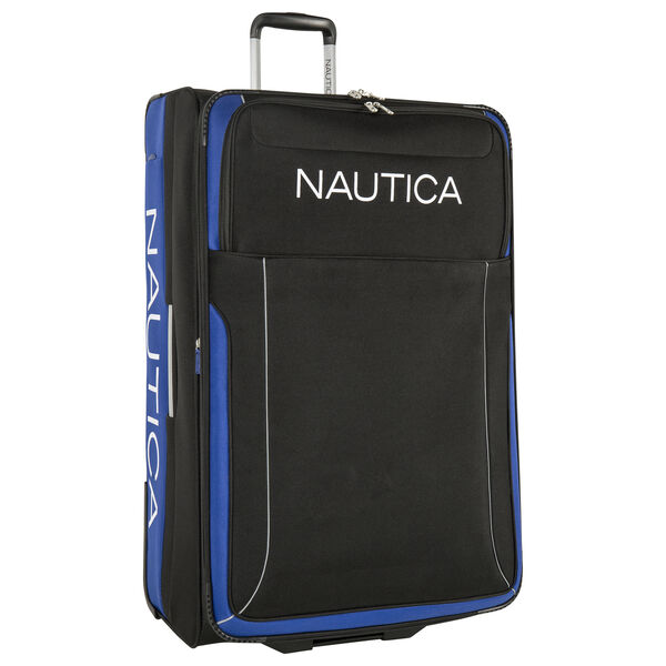 Point of Sail Expandable Luggage in Black/Cobalt - True Black