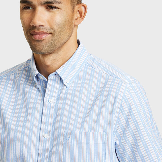 SHORT SLEEVE CLASSIC FIT SHIRT IN MULTI OXFORD STRIPE,Blue Grass,large