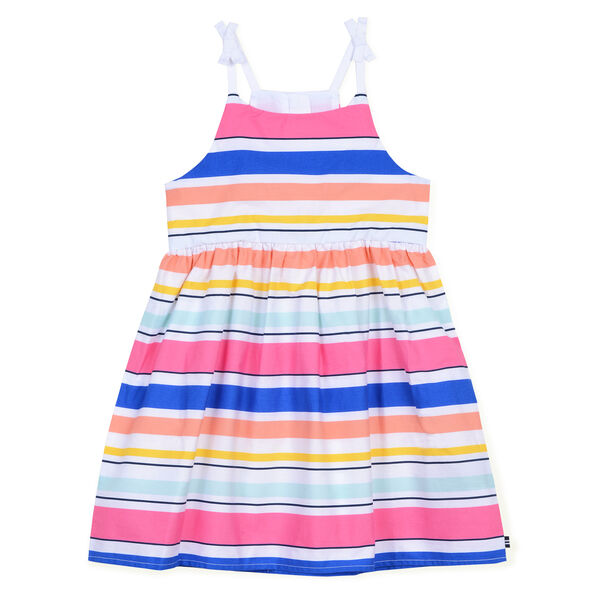 Girls' Woven Dress in Multistripe (8-20) - Port Scarlet