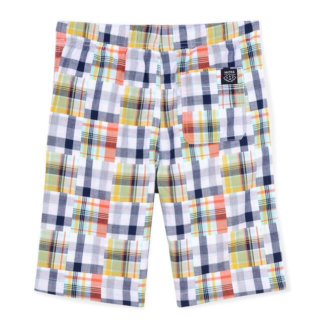 Little Boys' Kauai Woven Short in Patchwork Plaid (4-7),White,large