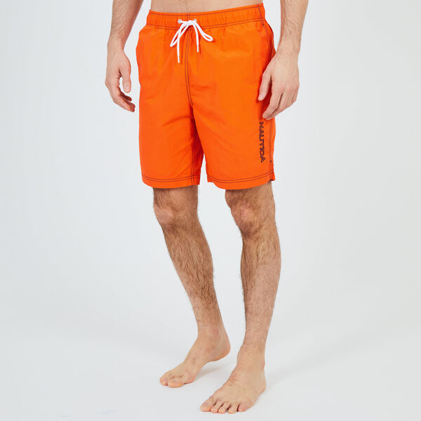 "8"" SWIM TRUNK IN EMBROIDERED LOGO - Pier Orange"