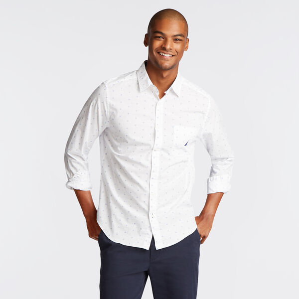 CLASSIC FIT POPLIN SHIRT IN MEDALLION PRINT - Bright White
