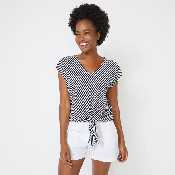 BIAS STRIPE TIE-FRONT TOP - Bright White
