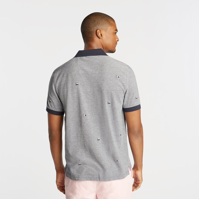 CLASSIC FIT OXFORD MESH POLO IN EMROIDERED FLAG ICON,Pure Dark Pacific Wash,large