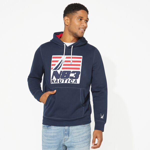 BIG & TALL N83 GRAPHIC PULLOVER HOODIE - Navy