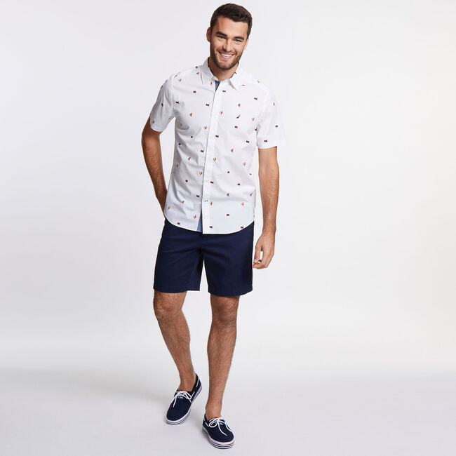 Classic Fit Stretch Short Sleeve in Sail Motif,Bright White,large
