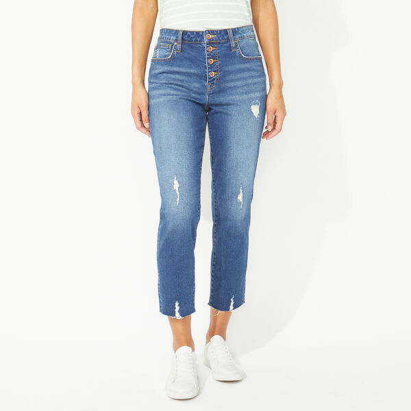 NAUTICA JEANS CO. STRAIGHT HIGH RISE CROP DENIM - Angel Blue