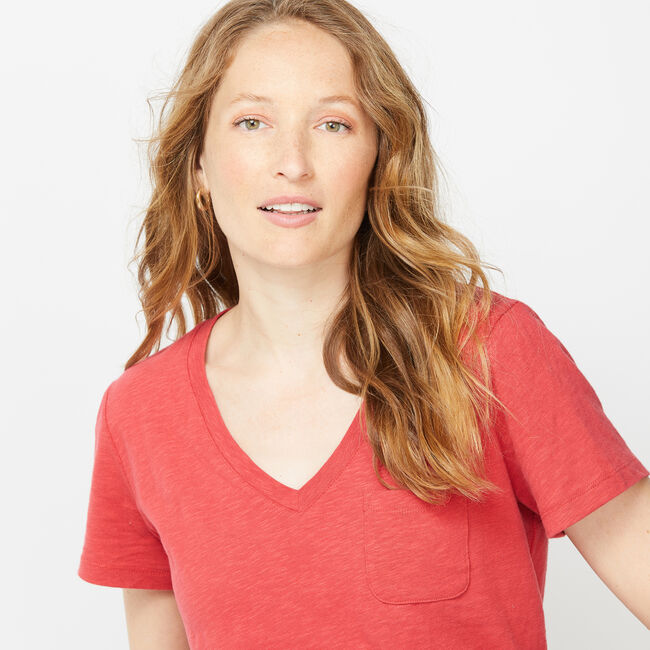 NAUTICA JEANS CO. SOLID V-NECK POCKET TEE,Cardinal,large