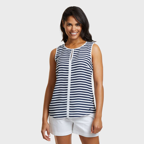 STRIPE GEORGETTE WOVEN - Bright White