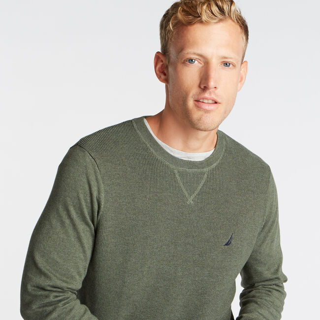 CREWNECK RIBBED FRONT SWEATER,Pine Forest Heather,large