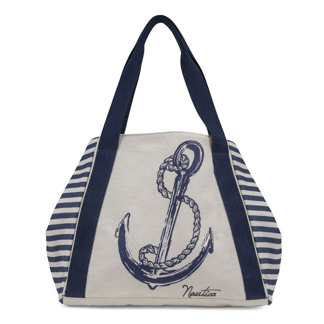 For Shoal Large Striped Canvas Tote,Sand Drift,large
