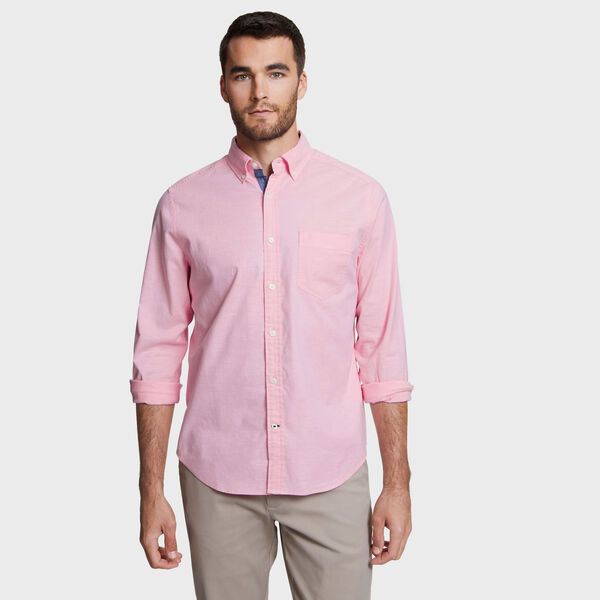 Faded Long Sleeve Oxford Classic Fit Shirt - Downhill Red