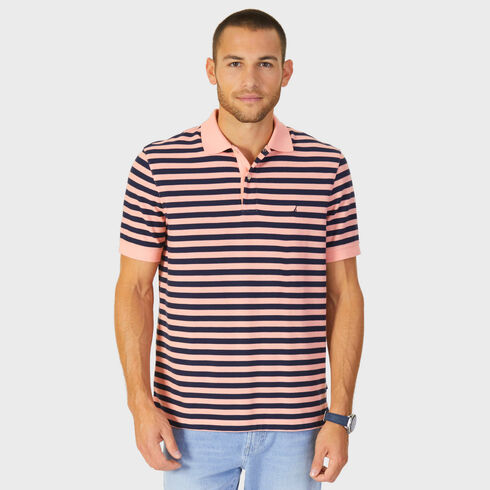 Short Sleeve Performance Deck Classic Fit Striped Polo - Sunset