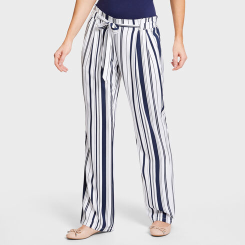Pleated Waist Striped Full-Length Pants - Bright White