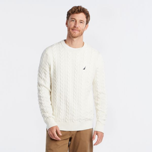 J-CLASS CABLE-KNIT SWEATER - Marshmallow