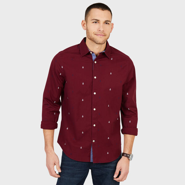 Big & Tall Anchor Motif Classic Fit Oxford Shirt - Nantucket Red